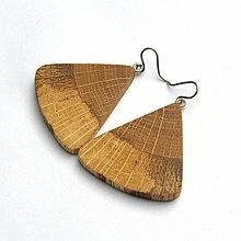 Náušnice - Špaltovaný dub - vejáriky - 7819682_