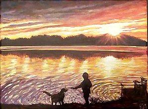 Obrazy - Priatelia na brehu jazera - 7821367_