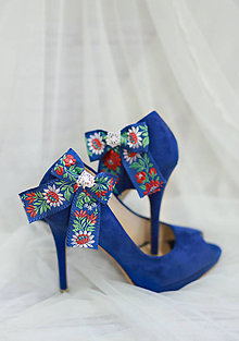Obuv - Folk klipy na topánky - modré mašličky - 7823702_