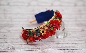 Ozdoby do vlasov - Folk kvetinová čelenka Maky - 7823786_