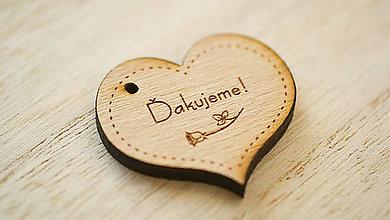 Darčeky pre svadobčanov - Drevené gravírované srdiečko Ďakujeme - 7821221_