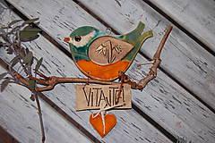 Dekorácie - Farebný vtáčik na dvere č. 1 - 7822493_