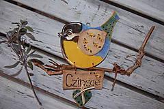 Tabuľky - Vtáčik na dvere s menovkou - 7822520_
