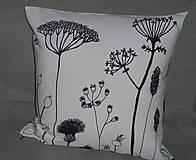Úžitkový textil - Vankúš Čierne steblá - 7826410_