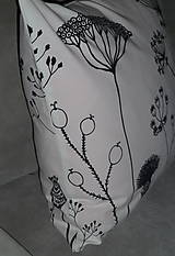 Úžitkový textil - Vankúš Čierne steblá - 7826427_
