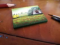 Magnetky - Vlčie maky - miniatúrna maľba - 7825285_