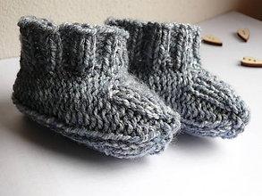 Topánočky - Papučky oceľovomodrý melír pre fešáčika - 7826215_
