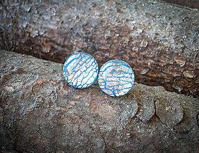 Náušnice - Krúžky 12 mm s kovovým efektom (modré) - 7827660_