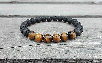 Šperky - Pánsky náramok - Láva, Tigrie oko - 7826873_