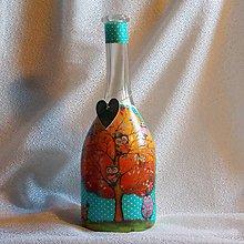 Nádoby - Darčeková fľaša Strom zaľúbených sovičiek - 7827500_