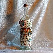 Nádoby - Darčeková fľaša Zamilované vtáčiky - 7827517_