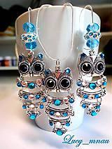 Sady šperkov - Náušnice a prívesok Sova-tyrkys :) - 7824377_