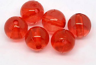 Korálky - Plastové korálky 8mm červené (balíček 30ks) - 7826332_