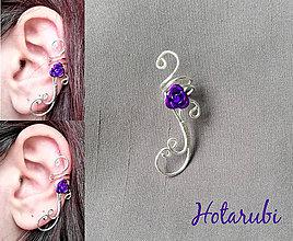Náušnice - záušnica s fialovou ružičkou - 7825255_