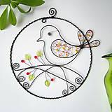 Dekorácie - veľký jarný kruh s vtáčikom - 7830284_