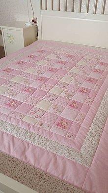 Úžitkový textil - Prošívaná deka - V růžové - 7828150_