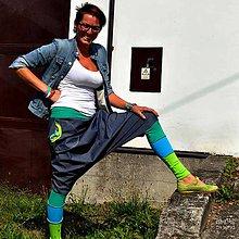 Nohavice - Džínové a zelené turky/sukně - 7828295_