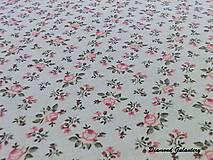 Textil - Bavlna režná - Kvietočky ružové - Cena za 10 cm - 7831578_