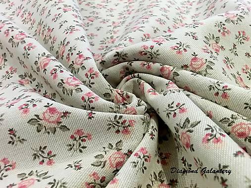 Bavlna režná - Kvietočky ružové - Cena za 10 cm