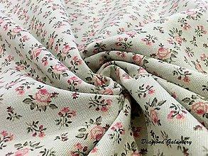 Textil - Bavlna režná - Kvietočky ružové - Cena za 10 cm - 7831575_
