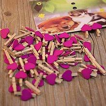 Papiernictvo - Štipec so srdiečkom - tmavo ružový - 7831055_