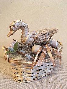 Dekorácie - Veľkonočná dekorácia prírodná kačka - 7830324_