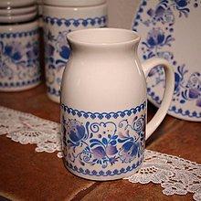 Nádoby - Džbán na mlieko modré kvety 2 - 7831070_