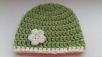 Detské čiapky - Detská čiapka hráškovo-zelená - 7829382_