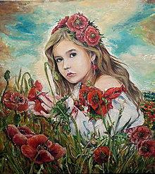 Obrazy - Dievča medzi makmi - 7832039_