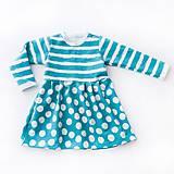 Detské oblečenie - BIO šaty - Dots and Stripes stillwater - 7828628_