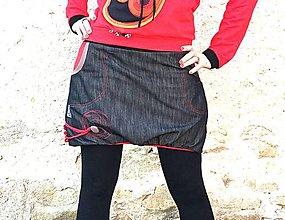9f6dd92167ee Sukne - Džínová balónová sukně ....červená podšívka - 7830784