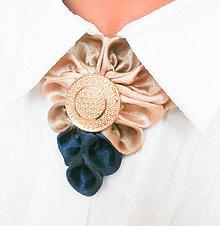 Iné šperky - Elegancia a la Chanel - indigo vintage náhrdelník so zlatým gombíkom - 7827709_