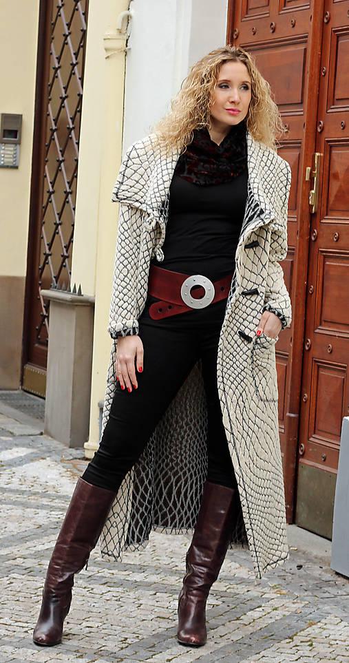 Černosmetanový dlouhý kardigan   ladeesse - SAShE.sk - Handmade Kabáty 0ee6dd9397f