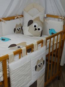 Textil - Súprava do detskej postieľky so sovou a s vtáčikmi - 7837273_