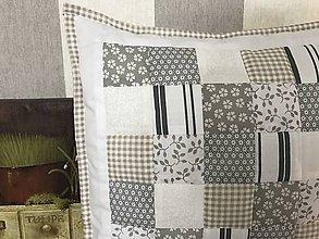 Úžitkový textil - Prehoz, vankúš patchwork vzor vintage šedo - béžová ( rôzne varianty veľkostí ) - 7836779_