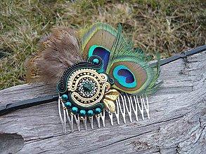 Ozdoby do vlasov - Soutache hrebienok do vlasov... Páv orientu - 7835592_