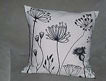 Úžitkový textil - Vankúš Čierne steblá - 7837225_