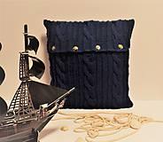 Úžitkový textil - Sveter na vankúš obojstranný Námorník modrý. - 7834730_