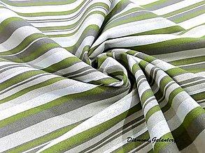 Textil - Bavlna režná - pásiky zelené - cena za 10 cm - 7836324_