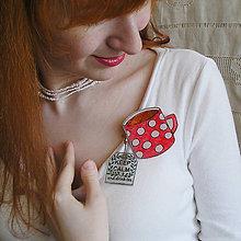 Odznaky/Brošne - plastová brošňa hrnček červený s nápisom - 7833773_
