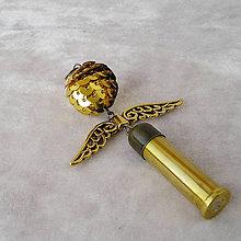 Dekorácie - Anjel z mosadznej nábojnice, 7 cm - 7834986_