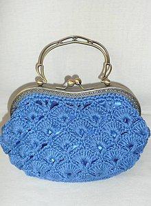 Kabelky - Modrá čipkovaná kabelka - 7835943_