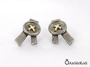 Náušnice - Náušnice s knoflíky z damasteelu se zlatem - 7833608_
