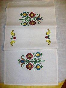 Úžitkový textil - Stredový obrus ,ručne maľovaný ľudový motív, 147x41,5 cm - 7832937_