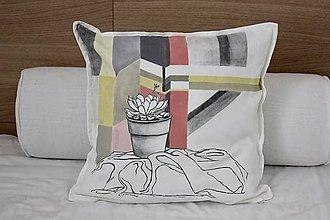 Úžitkový textil - Dekoračná obliečka na vankúš SPALA suculent - 7836697_