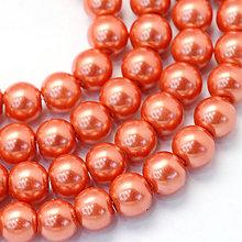 Korálky - SKO5607, Sklenené KORÁLKY Perly 6mm/Tomato /20ks - 7833816_