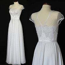 Šaty - Svadobné šaty s bodkovaným tylom a kruhovou sukňou - 7833177_