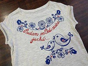 Detské oblečenie - Maľované tričko s ľudovým motívom a nápisom \