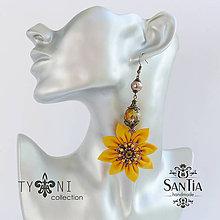 Náušnice - Náušnice obojstranné s visiacimi kvetmi (Žlto-hnedé v rozpuku) - 7836023_