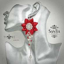 Náušnice - Náušnice so strapcami perál (Asymetrické červeno-biele) - 7836938_